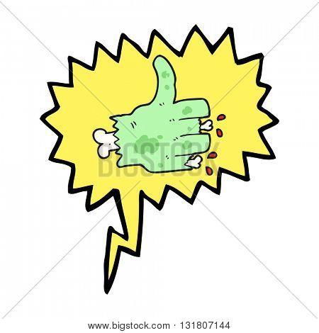 freehand drawn speech bubble cartoon zombie hand