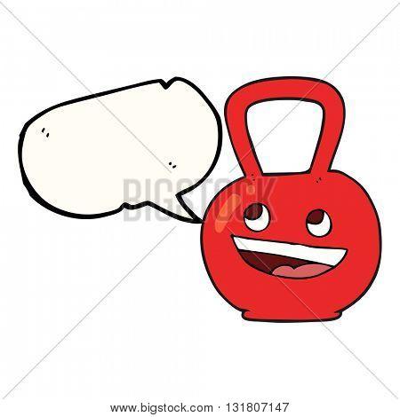 freehand drawn speech bubble cartoon kettle bell