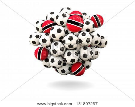 Pile Of Footballs With Flag Of Trinidad And Tobago