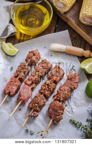 Beef Kebabs Ready To Be Grilled