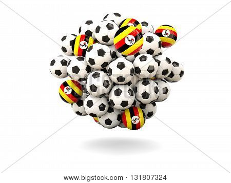 Pile Of Footballs With Flag Of Uganda