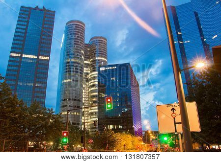Puteaux city France-May 27 2016 : The skyscrapers of Defense business area Parisian region France.