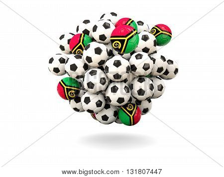 Pile Of Footballs With Flag Of Vanuatu