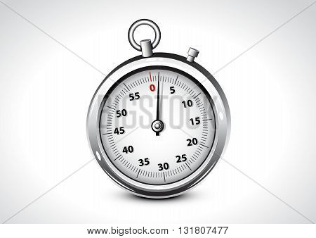 Realistic isolated silver chronometer on white background