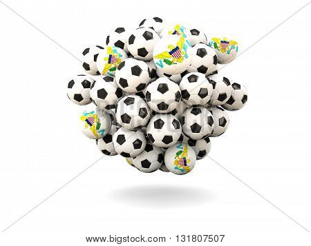 Pile Of Footballs With Flag Of Virgin Islands Us