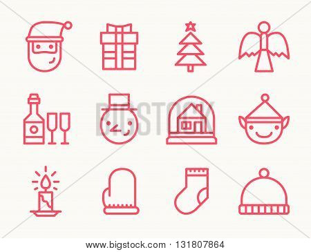 Set of twelve outline Christmas icons with Santa Christmas tree angel gift snowman candle and other symbols