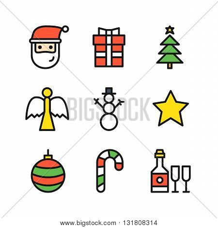 Set of nine outline colored icons for Christmas with Santa head gift with ribbon Christmas tree with golden star on top angel statue snowman golden star ball striped candy bottle with glasses
