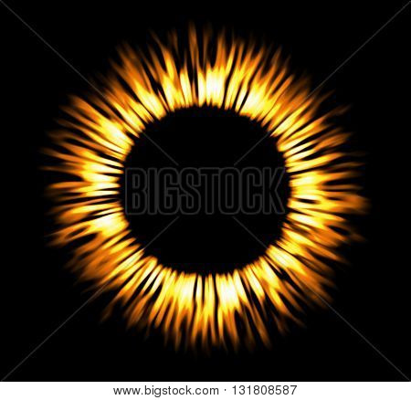 Round fire frame. Fire eclipse fire or swirl