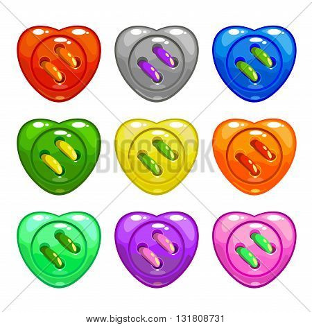 Cartoon colorful sewing buttons set, heart shape vector buttons, isolated on white