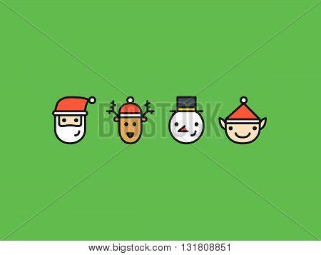 Set of four colored outline icons with Christmas characters: Santa Reindeer Snowman and Elf