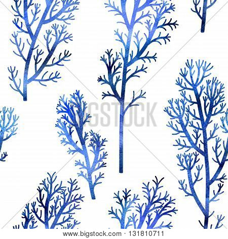 floral seamless pattern with wild plants drawing in watercolor, sea pattern with blue seaweeds, watercolor artistic painting background, hand drawn illustration