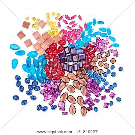 Abstract background. Fashion lot of gemstone. Luxury shiny glamor colorful placer. Awesome precious stones, multicolored creative unusual party decoration.Celebration holiday concept, closeup isolated