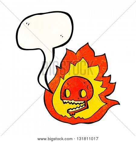 freehand drawn texture speech bubble cartoon burning skull