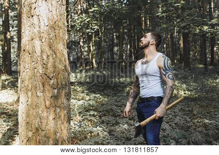 Portrait Of Young Stylish Lumberjack