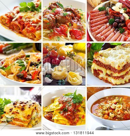 Collage of various delicious Italian best dishes