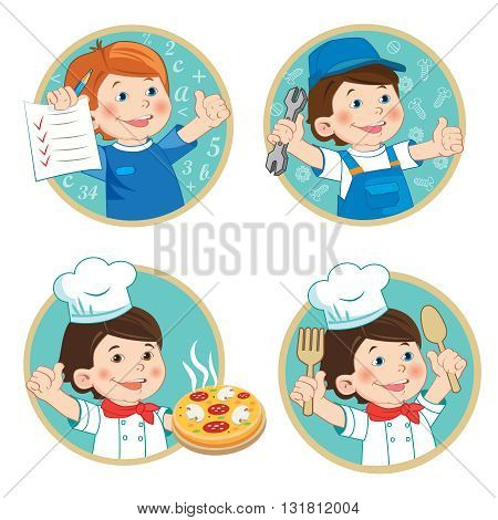 Kids Profession Education Cartoon Vector Set. School Boy Holding Up His Grades. Happy Boy Mechanic In Work Clothes. Young Boy Chef With Pizza. Young Worker.