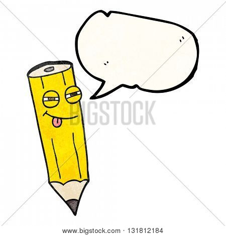 happy freehand drawn texture speech bubble cartoon sly pencil
