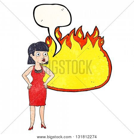 freehand drawn texture speech bubble cartoon woman in dress with hands on hips and flame banner