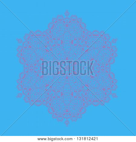 Vector Mandala Isolated on Blue Background. Round Ornament