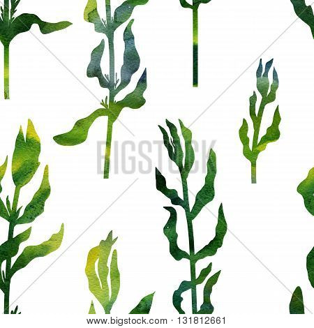 green silhouette floral seamless pattern with wild plants drawing in watercolor, drawing floral card, watercolor artistic painting background, hand drawn illustration