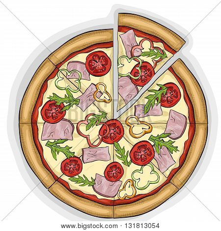 Pizza with bacon color picture sticker. Fast food. Hand drawn vector illustration.