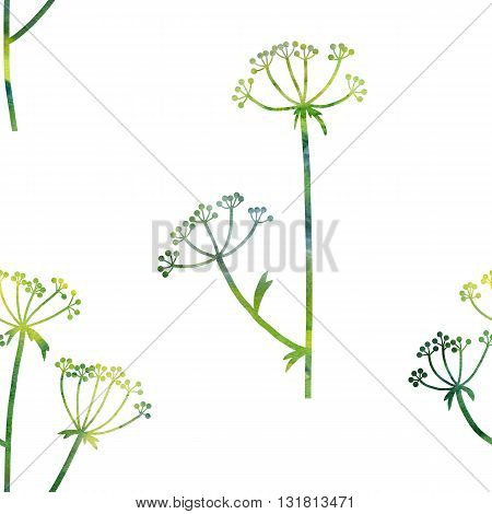 floral seamless pattern with green dill plants drawing in watercolor, floral composition with wild plants, drawing floral ornament, watercolor artistic background, hand drawn illustration