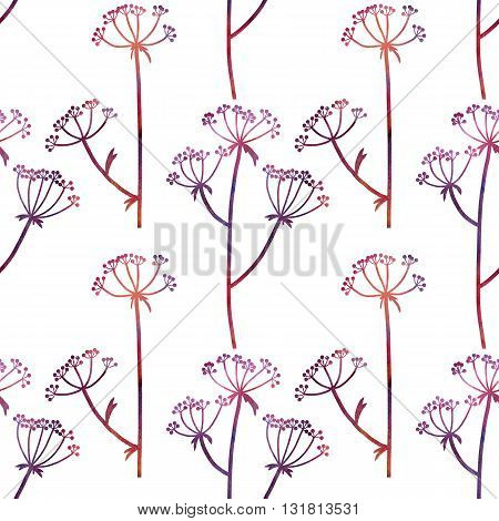 floral seamless pattern with dill plants drawing in watercolor, floral composition with wild plants, drawing floral ornament, watercolor artistic background, hand drawn illustration