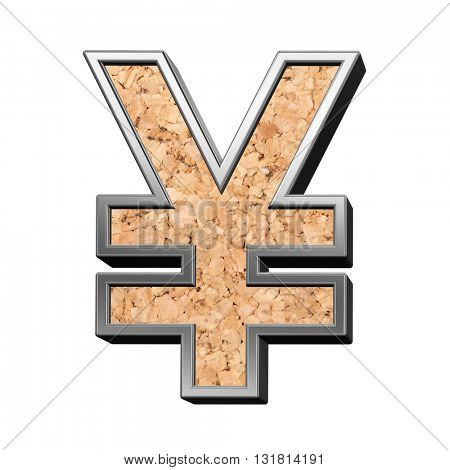 Yen sign from cork with silver shiny frame alphabet set, isolated on white. 3D illustration.