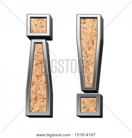 Exclamation mark from cork with silver shiny frame alphabet set, isolated on white. 3D illustration.