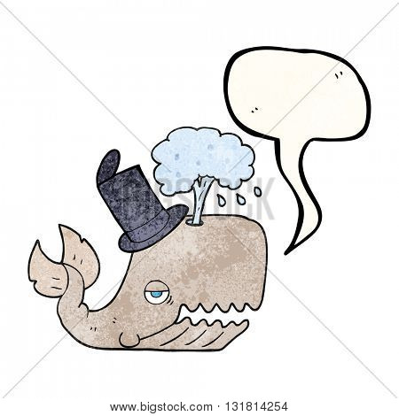 freehand speech bubble textured cartoon whale spouting water