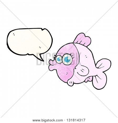 funny freehand speech bubble textured cartoon fish with big pretty eyes