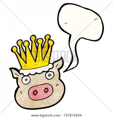 freehand speech bubble textured cartoon crowned pig