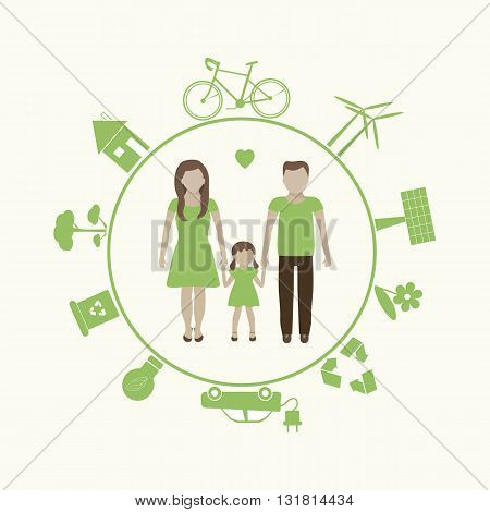Save the earth. Eco concept with family. Vector illustration. Go green icon