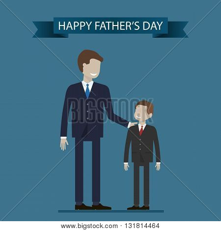 Happy Fathers Day celebration. Father and son friends and partners. Vector illustration flat design