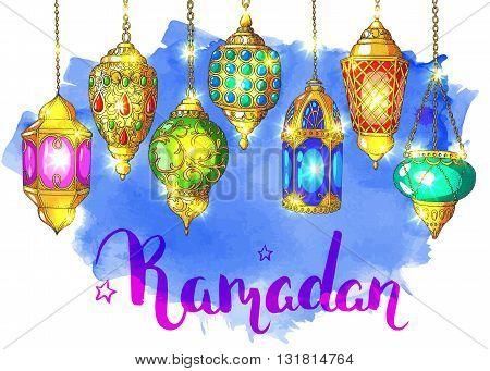 Ramadan Kareem. Arabic shiny lanterns. Bright vector watercolor background. Ink hand drawn inscription. Typography. Brush lettering. Calligraphy. Ramadan greeting card. Blue watercolor card.