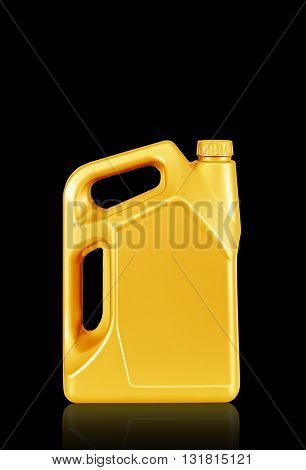 Engine oil canister isolated on black background. gold color