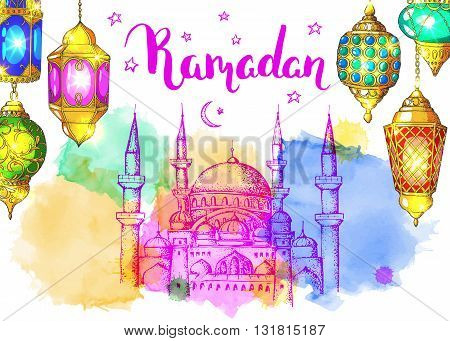 Mosque at night. Ramadan Kareem. Colorful shiny arabic lanterns. Bright vector watercolor background. Ink hand drawn inscription. Typography. Brush lettering. Calligraphy. Ramadan greeting card. Pink sunset.