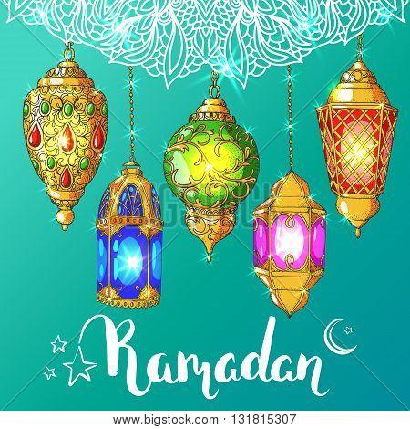 Vector shiny Ramadan card. Arabic glowing lanterns. Islamic holiday background. Ink handwritten inscription Ramadan Kareem. Brush lettering. Calligraphy.Turquoise greeting card. Islamic arabic ornament.