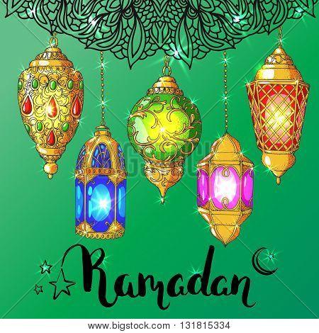Vector shiny Ramadan card. Arabic glowing lanterns. Islamic holiday background. Ink handwritten inscription Ramadan Kareem. Brush lettering. Calligraphy. Green greeting card. Islamic arabic ornament.