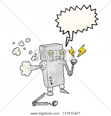 freehand speech bubble textured cartoon broken robot