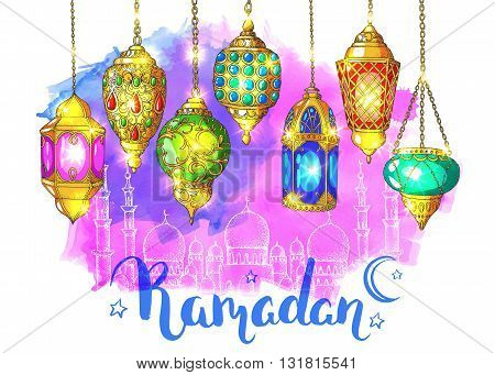 Mosque at night. Ramadan Kareem. Colorful shiny arabic lanterns. Bright watercolorvector background. Ink hand drawn inscription Ramadan. Typography. Brush lettering. Calligraphy. Glowing lanterns.