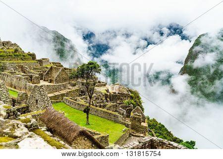 Machu Picchu and the clouds in Peru