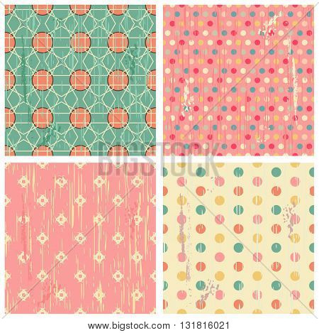 Set of four retro different vector seamless retro patterns (tiling) with grunge texture. Endless texture can be used for pattern fills, web page background, baby and scrapbooking design