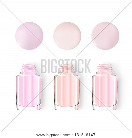 Nail polish bottle. pastel. vector. Nail polish blot isolated on white. For art manicure design studio nature color: beige dirty pink pale brown