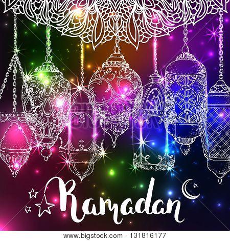 Vector shiny Ramadan card. Arabic glowing lanterns. Islamic holiday background. Ink handwritten inscription Ramadan Kareem. Brush lettering. Calligraphy. Rainbow greeting card. Islamic arabic ornament.