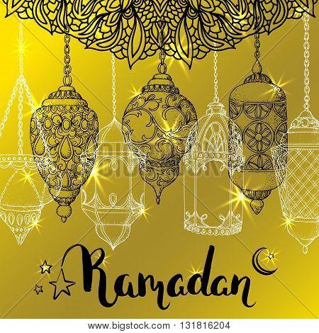 Vector shiny Ramadan card. Arabic lanterns. Islamic holiday background. Ink handwritten inscription Ramadan Kareem. Brush lettering. Calligraphy. Golden greeting card. Islamic arabic ornament.