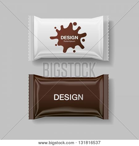 Blank Foil Food Snack pack For biscuit crackers sweets chocolate bar candy bar snacks etc. Plastic Pack Template for your design Vector