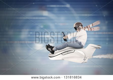 Image of a little boy driving a small aircraft with binary code background inside cyberspace