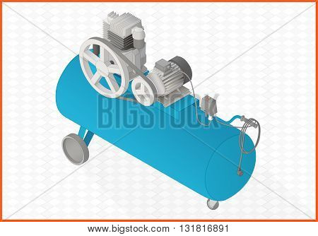 pneumatic compressor isometric perspective view flat vector 3d illustration