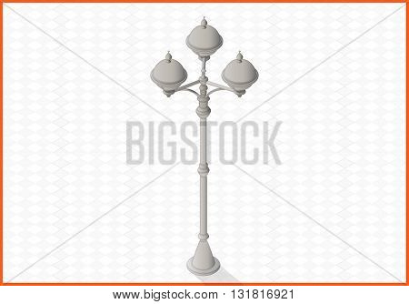 lamppost isometric perspective view flat vector 3d illustration